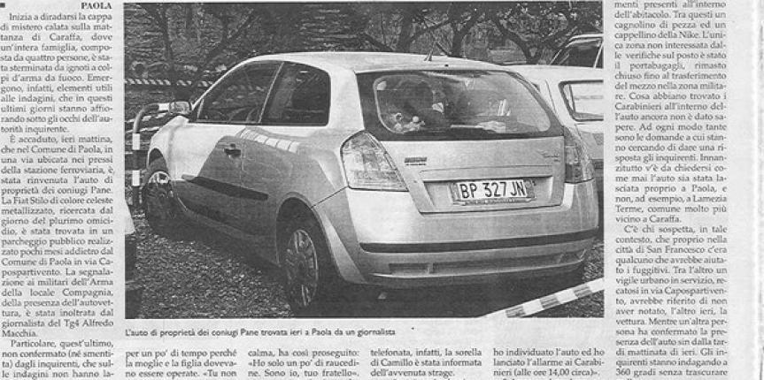 Ritrovamento auto: i giornali