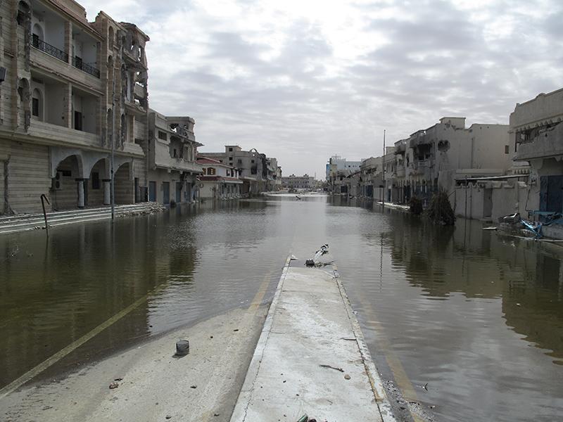 Una parte del centro di Sirte invasa dall'acqua