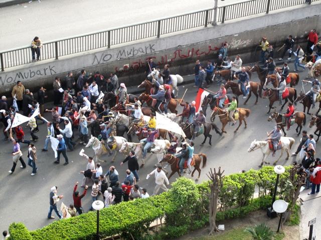 I sostenitori di Mubarak in groppa a cavalli e cammelli si preparano ad attaccare la piazza degli oppositori