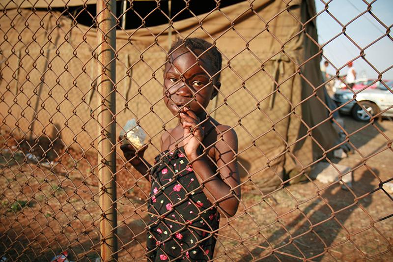 Il campo allestito alle porte di Pretoria