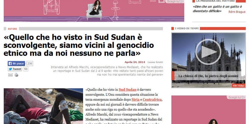 Intervista a Tempi sul Sud Sudan